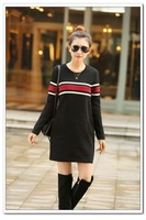 new 2015 women spring autumn High quality casual dress long sleeve pocket Patchwork cotton striped dresses Feminine clothing