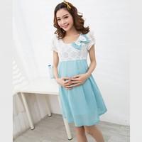 Summer Maternity Clothing Cute Bow Maternity Dress High Waist Lace Chiffon Vestido Gravida Clothes for Pregnant Women Plus M L