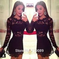 Ropa 2015 Women Lace Crochet Embroidery Floral De Renda Mini Sexy Black Dresses Bodycon Vestidos Feminino Curto Verao HBQ043