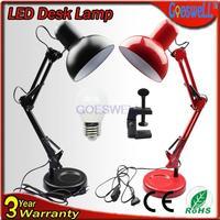 LED Desk Lamp American Type Office Work Light Clip On piano Light Decorative Foldable Table Light  Blcak/Red
