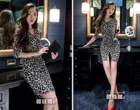 Good quality 2015 women summer dinner party dress vintage  leopard v-neck hem slit Slim hip ladies evening dresses clothing