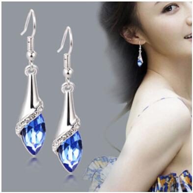 2015 moda brincos de cristal brincos longa seção do popular Ms. masculino brincos jóias de prata(China (Mainland))