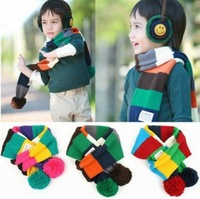 Autumn and winter child scarf multicolour spherule stripe yarn thermal muffler scarf baby collars