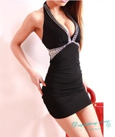 Package Hip was Thin Fashion Tight Sexy Dresses Halter Handmade Beaded Dresses Nightclub Dresses Free Shipping