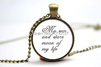 10pcs/lot Game of thrones sun and stars moon of my life Necklace Glass Photo Cabochon Necklace