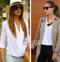 2015 casual body Women's tops solid white deep v-neck chiffon blouse top female plus size women's blouses blusas femininas