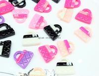 50% sale 200pcs mix color kawaii hand bag purse pendant charm flatback decoden resin Cabochons 23x21mm wearable art