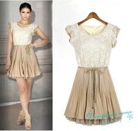 New Summer Lace Dresses Flying Sleeves Chiffon Dress Woman Temperament Elegant Dress Free Shipping