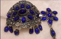Tibet silver Blue jade  bun pin stick barrette tassel hair slide clip
