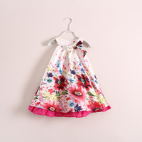 free shipping children girl sleeveless bohemian floral dress with bows on shoulder