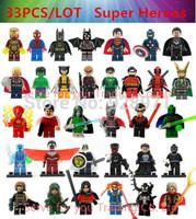 33pcs/lot.Marvel Super Hero Minifigures Classic Toys Building Blocks Sets Model Bricks Decool Figures Avengers Le go Compatible