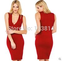 Fashion Sexy Women Red Evening Dress Party Dresses Slim Deep V-Neck Sleeveless Elastic Waist Tank Top Bust Package Vestidos D670