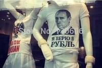 2014 New Russia - I believe rubles Mens Summer Tops Tees Short Sleeve t shirt Man Plus Size Start Cotton t-shirt Men Brand 3D