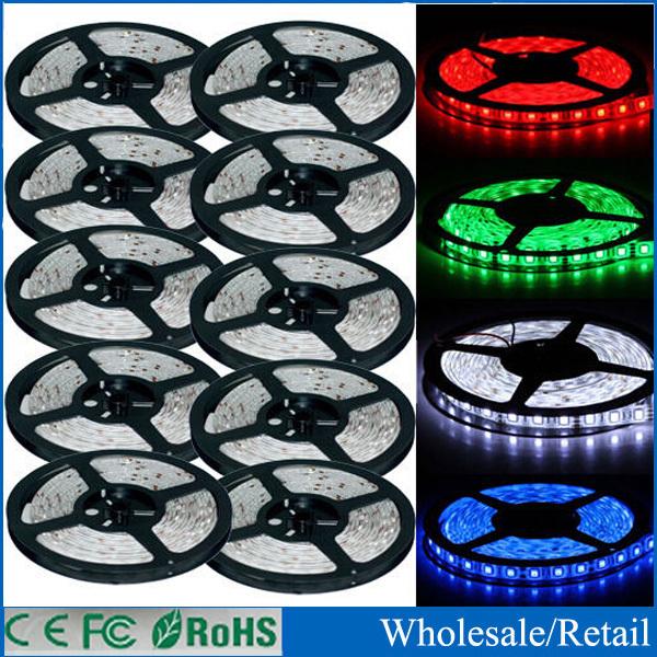 Free shipping IP65 Waterproof 5M 3528 LED Strip Light 300 LED DC 12V Cool White RGB Blue LED tape ribbon(China (Mainland))
