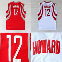 Houston 12 Dwight Howard Jersey, Cheap Basketball Jersey Dwight Howard REV 30, Vintage Throwback Embroidery Logos, Free Shipping
