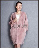 2015 Women's Luxury Natural Genuine Mink Fur Coat Jacket Female Fur Outerwear Bat Garment Cozy Parka QD80195