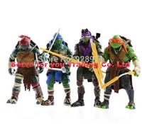 2015 NEW HOT 4 pieces/set 12cm Anime Cartoon TMNT Teenage Mutant Ninja Turtles PVC Action Figure Toys Dolls