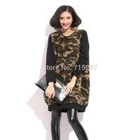 2015 hot sale Camouflage pullover winter sweatshirt warm thick lamb wool t shirt  loose big size sweatshirt long sleeve G1258