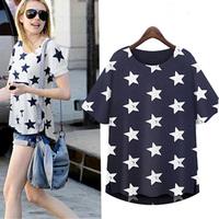 T Shirt Women Vintage Blue Printed Blouse Elegant Shirts Casual Short Sleeve Shirt Slim New 2014 Blusas Femininas Shirt LJ292DB