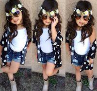 7Set Children girl's  220714 fashion girl child exquisite set outerwear vest jeans 3-piece/set