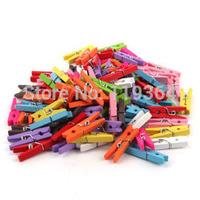 5pcs/lot New Length 35mm wooden colourful Clip for Scrapbooking Cute memo paper clip SQC046