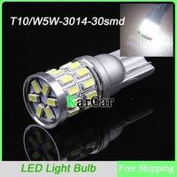 2PCS/Lot W5W 3014 30 LED Reading Lights Clearance Lights, 12V T10 Marker Bulbs Dome Light Free Shipping