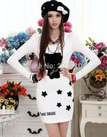 2015 Spring and autumn elegant long-sleeve dress slim Women  knitted slim hip basic Dresses