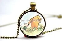 10pcs/lot  the pooh Necklace Glass Photo Cabochon Necklace