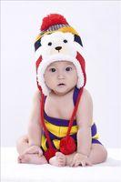 2015 Children Plus Velvet Striped Ear Cap Fashion Unisex Knitted Hat 5 Colors HT010