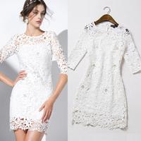 2015 spring and summer fashion high quality  beading ladies elegant half sleeve one-piece dress
