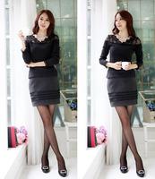 free shipping Hitz Korean lace Slim big yards fat MM bottoming shirt plus velvet long-sleeved T-shirt shirt female models 291LMX