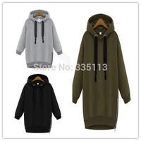2014 Women Hoody Ladies Long Sleeve Hooded Sport Loose Easily Relaxed Style Winter Hoodie Coat Sweatshirt Clothing Size S-5XL