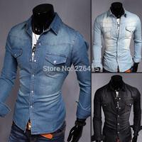 Top Quality Men's Casual Denim Shirt Water Wash Pocket Camisa Slim Fit Long-sleeve Shirt Men M-XXL Free Shipping