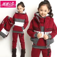 Winter children's clothing female child set 2014 autumn baby clothes child sweatshirt female child thickening piece set