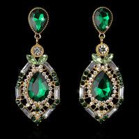 luxury elegant ocean blue rhinestone big fashion drop earrings 2014 Hot Sell Vintage Earings Accessories