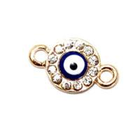 New arrived!!! 100pcs/lot Turkish blue evil eye charms for bracelets DIY gold charms enamel crystal cheap!!