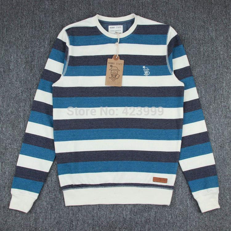 2015 nanny state men's hoody male sweatshirt yarn dyed striped french terry fabric Men pullover sweatshirt plus size(China (Mainland))