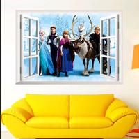 Cartoon Movie Fairy Large 3D Window FROZEN  Wall Sticker Bedroom Art Living Room Mural Decals Yinyl for kids gift