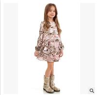 Girl long sleeve dress wlmons*n brand new dress children flower leopard lace dress kids cotton clothes