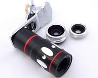 20pcs Gold Universal 4 in 1 lens Set 10X Optical Zoom Telescope Magnifier Fisheye Macro Wide Angle Lens free ship