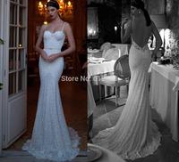 Romantic Brand vestido de noiva Sweetheart Sleeveless Lace Beaded Sexy Open Back Chapel Train Lace Mermaid Wedding Dresses 2015