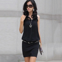 LRS022 Fold collar OL commuter package hip skirt dress sleeveless knit vest