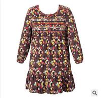Girl long sleeve dress wlmonsoon brand new dress children flower floral dress kids cotton clothes