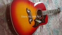 Brand new arrival guitars cherry sunburst dove acoustic guitar free shipping mahogany fishman EQ