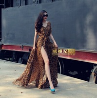 6XL Plus Size Brand design Jennifer Lopez Boho Leopard Print V-neck Sleeveless Lateral Split Long Maxi Spring Summer Women Dress