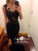 Vestido Scoop Appliques Mermaid Evening Dress Open Leg Formal Prom Gown 2014 Hot Special Occasion Women Dresses