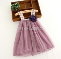 6pieces/lot Summer Brooch Flower Strap Girls Lace Dresses, Kids Dress, gg091