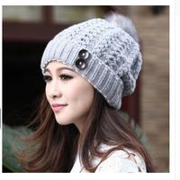 Free Shipping New Women Fashion Wool Hat Casual Skullies Knitted Caps  Winter Ear Protect Cute Casual Cap Women Beanies