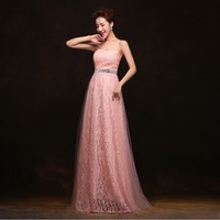 Long Evening Dress 2014 New Arrival Formal Dresses Crystal Belt A-Line Strapless Sleeveless Chiffon Dress Party Evening Elegant