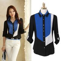 New S-XXL Womens 2014 Korean Fashion Style Contrast Color Collar Long Sleeve Chiffon Blouses Shirts blusas femininas B-2066